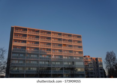 Apartment house in red evening light
