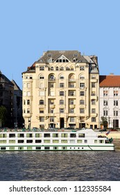 Apartment house residential architecture at the Danube river in Budapest, Hungary.