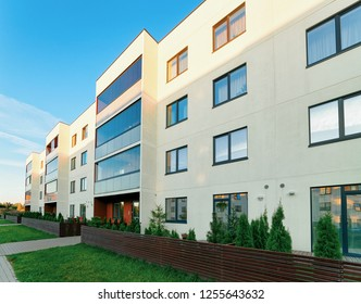 Apartment house residential building complex with gate concept