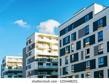 Apartment houses and homes residential buildings complex real estate concept. Place for copy space