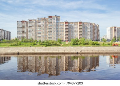 Apartment houses on the river bank in Nizhny Novgorod, Russia
