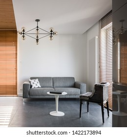 Apartment interior with wooden window blinds and modern furniture