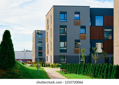 Apartment modern houses and homes residential buildings complex real estate concept. Street and an outdoor