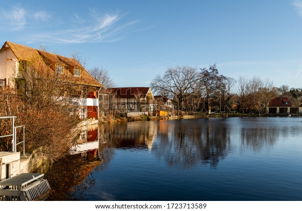 Apartment on the lake in Ilsenburg. Blue sky and nice weather
