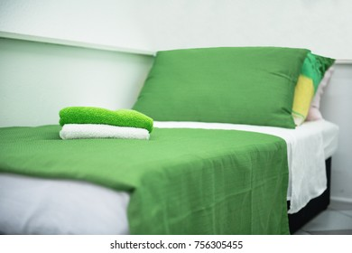 Apartment for rent. Clean, beautiful and cozy room. Lined bed with towels on top. Owners taking care for their travelers/ tourists. Guest is a king.