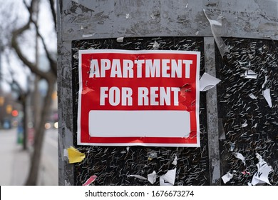Apartment for rent sign on a textured background