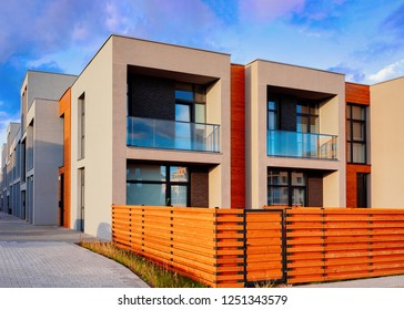 Apartment residential townhouse buildings outdoor concept. Street and backgrounds.