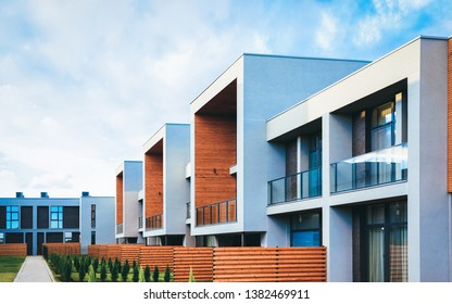 Apartment residential townhouse buildings with outdoor concept. Street and backgrounds.