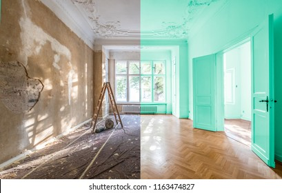 apartment room before and after restoration or refurbishment -  renovation concept   -