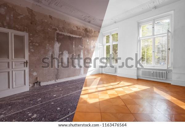 Wohnzimmer vor und nach der Restaurierung oder Renovierung - Renovierungskonzept   -