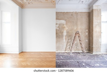 apartment room during renovation, before and after restoration /  refurbishment