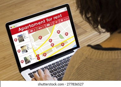 apartment search online concept: house search application on a laptop screen