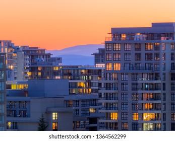 apartment at sunset, richmond, canada.