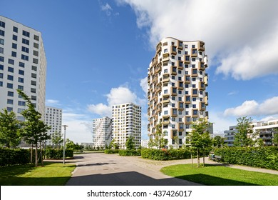 Apartment towers in the city - modern residential buildings with low energy house standard