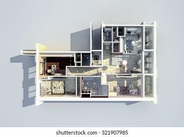 apartments 3D design  project redevelopment
