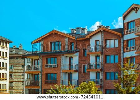 Apartments In Balkans Mountains, Europe, Bulgaria. Luxury Houses At The  Pirin Golf Village