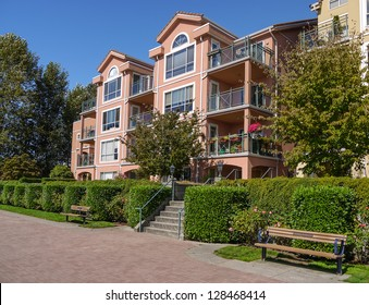 Apartments in Italian style in New Westminster. Canada