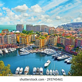 Apartments and luxury yachts in the harbor of Monte Carlo, Monaco, Europe