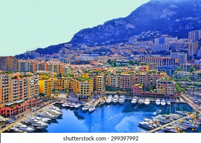 Apartments and luxury yachts in the harbor of Monte Carlo, Monaco, Europe.
