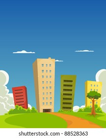 Apartments And Offices Buildings/ Illustration of a group of cartoon residential and office building tower