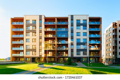 Apartments in residential complex. Housing structure at modern house, Europe. Rental home. Architecture for property investment.