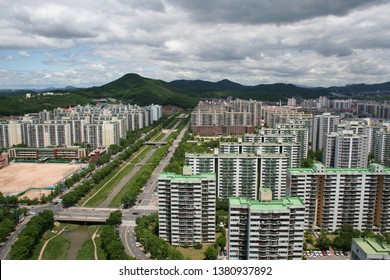 Apartments and stream in Ansan-si, South Korea.