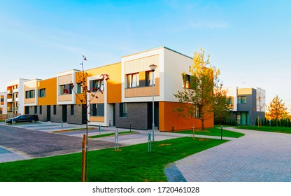 Apartments in townhouse residential complex. Housing structure at modern house, Europe. Rental home. Architecture for property investment.