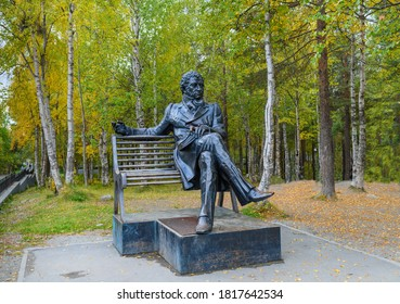 APATITY/RUSSIA - SEPTEMBER 14, 2020: Zurab Tsereteli's sculpture, a monument to the famous 19th-century Russian poet Alexander Pushkin. Pushkin autumn.