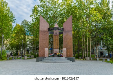 "APATITY/RUSSIA-September 2, 2020:Memorial to fellow countrymen who died in the Great Patriotic War of 1941-1945. The inscription on the orden: ""Patriotic War"". The names of the victims are carved."