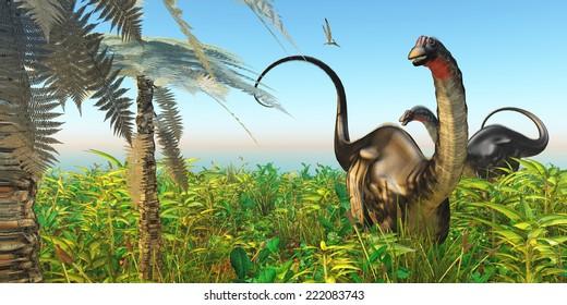 Apatosaurus Dinosaur Garden - A Pteranodon flies past two Apatosaurus dinosaurs in a lush Cretaceous jungle.