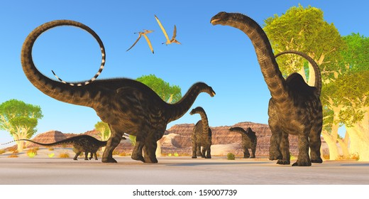 Apatosaurus Forest - Two Pterosaurs fly over a herd of Apatosaurus dinosaurs as they wonder through a prehistoric forest.