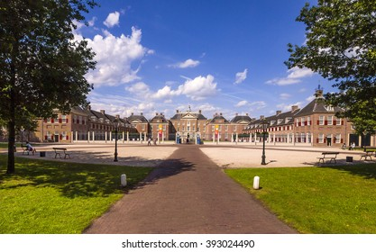 Apeldoorn, Holland, August 16, 2013: panoramic view of the royal palace museum Het Loo on a beautiful summer day