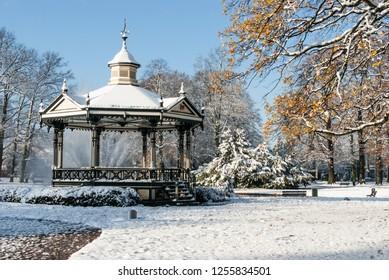 Apeldoorn, the Netherlands - 2008-11-24 Oranjepark: Music kiosk  in the snow.  A winter scenery. portrait orientation