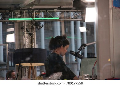 Apeldoorn, Netherlands - December 23, 2017:  3 DJ's of NPO 3FM radio are locked up 6 days in house of glass without food to raise mony for the Red Cross :serious request- DJ Angelique Houtveen