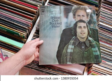 APELDOORN, THE NETHERLANDS - JULY 12, 2016: LP record of the American folk rock duo, singer-songwriter Paul Simon and singer Art Garfunkel, in a second hand store.