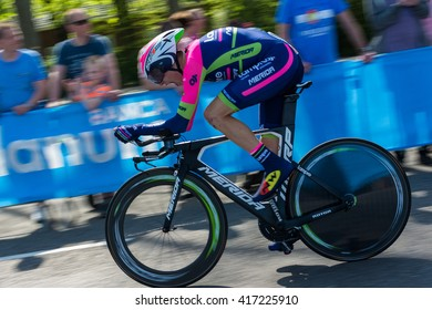 Apeldoorn, The Netherlands / May 8, 2016 : Cyclist of team Lampre â?? Merida at the Giro d'Italia 2016.