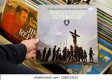 APELDOORN, THE NETHERLANDS - OCTOBER 25, 2016: LP record of the Sound Track from the 1973 Film: Jesus Christ Superstar, in a second hand store.