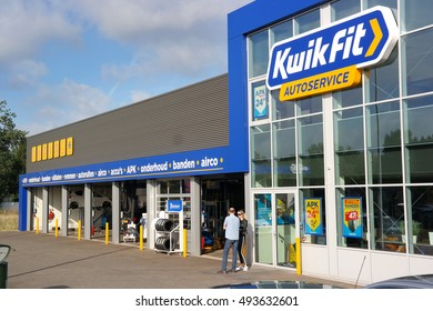 APELDOORN, THE NETHERLANDS - SEPTEMBER 28, 2016: Branch of Kwik Fit, a Scottish Car servicing and repair chain Company with over 1800 service points in Europe.