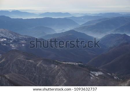 Apennines in winter near