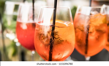 aperol spritz close-up. Summer party coctails