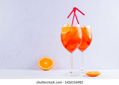 Aperol Spritz cocktail  on a white background. Italian cocktail aperol spritz on white. Isolated