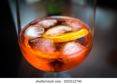 Aperol Spritz cocktail in a wine glasss