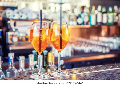 Aperol spritz drink on bar counter in pub or restaurant.