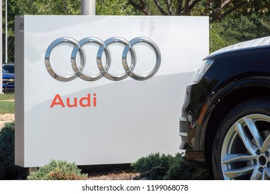 Apex, NC/United States- 09/29/2018: The Audi logo is seen on a sign in front of a dealership.