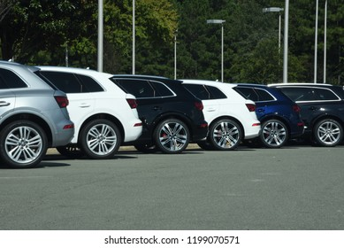 Apex, NC/United States- 09/29/2018: A row of Audi automobiles at a dealership.
