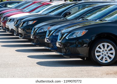 Apex, NC/United States- 09/29/2018: A row of Nissan vehicles at a company owned dealership.