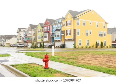 Apex, North Carolina / United States of America - April 13 2019: Colorful townhouse near Apex down town