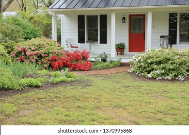 Apex, North Carolina / United States of America - April 13 2019: Front patio of single family house near Apex down town