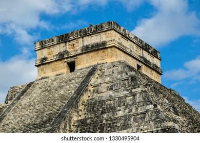 Apex of Temple of Kukulkan, Chichen Itza archaeological site - Chichen Itza, Yucatan, Mexico.