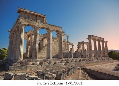 Aphaia temple in Aegina Island, Greece